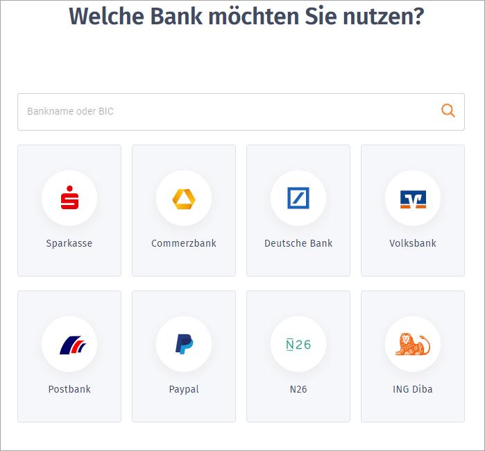 MeinBüro Handbuch für Fortgeschrittene: Auswahl der genutzten Bank