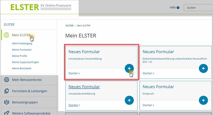 MeinBüro Handbuch für Fortgeschrittene: Neues ELSTER-Formular erstellen
