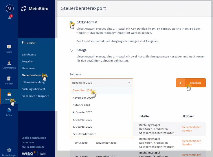 MeinBüro Handbuch für Fortgeschrittene: Steuerberaterexport im DATEV Format für Dezember 2020
