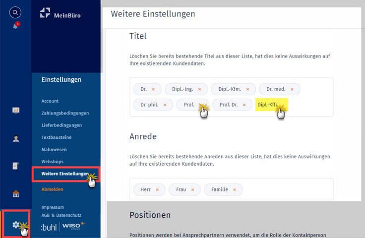 MeinBüro Handbuch für Einsteiger: Weitere Einstellungen