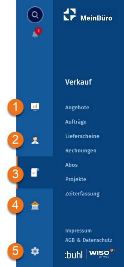 MeinBüro Handbuch für Einsteiger: Navigationsleiste