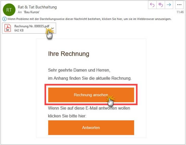 MeinBüro Handbuch für Einsteiger: Rechnungsversand Beispiel