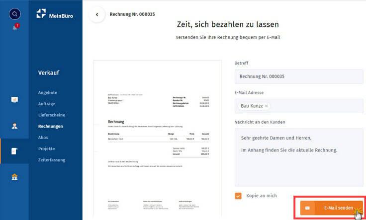 MeinBüro Handbuch für Einsteiger: Rechnung per E-Mail versenden