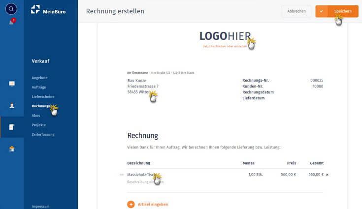 MeinBüro Handbuch für Einsteiger: Rechnung speichern
