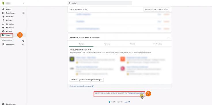 MeinBüro Handbuch für Fortgeschrittene: Shopify private App