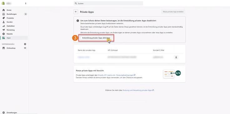 MeinBüro Handbuch für Fortgeschrittene: Shopify private App aktivieren