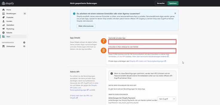 MeinBüro Handbuch für Fortgeschrittene: Shopify private App einrichten