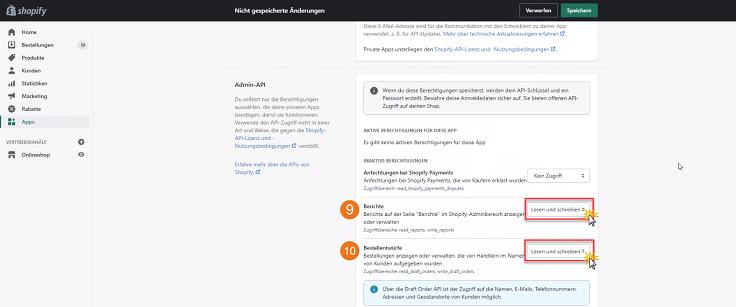 MeinBüro Handbuch für Fortgeschrittene: Shopify private App einrichten Schritt 2