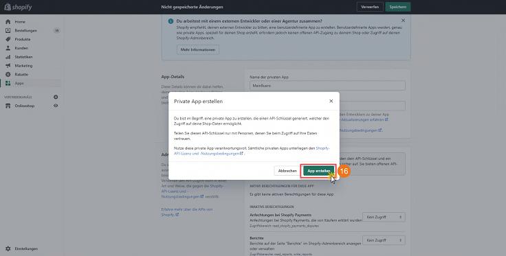 MeinBüro Handbuch für Fortgeschrittene: Shopify private App einrichten Schritt 4
