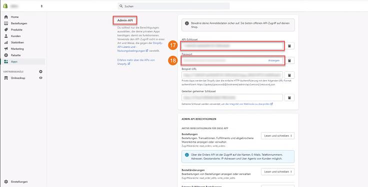 MeinBüro Handbuch für Fortgeschrittene: Shopify private App API Schlüssel