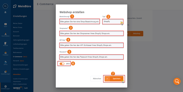 MeinBüro Handbuch für Fortgeschrittene: Shopify anbinden in MeinBüro Schritt 2