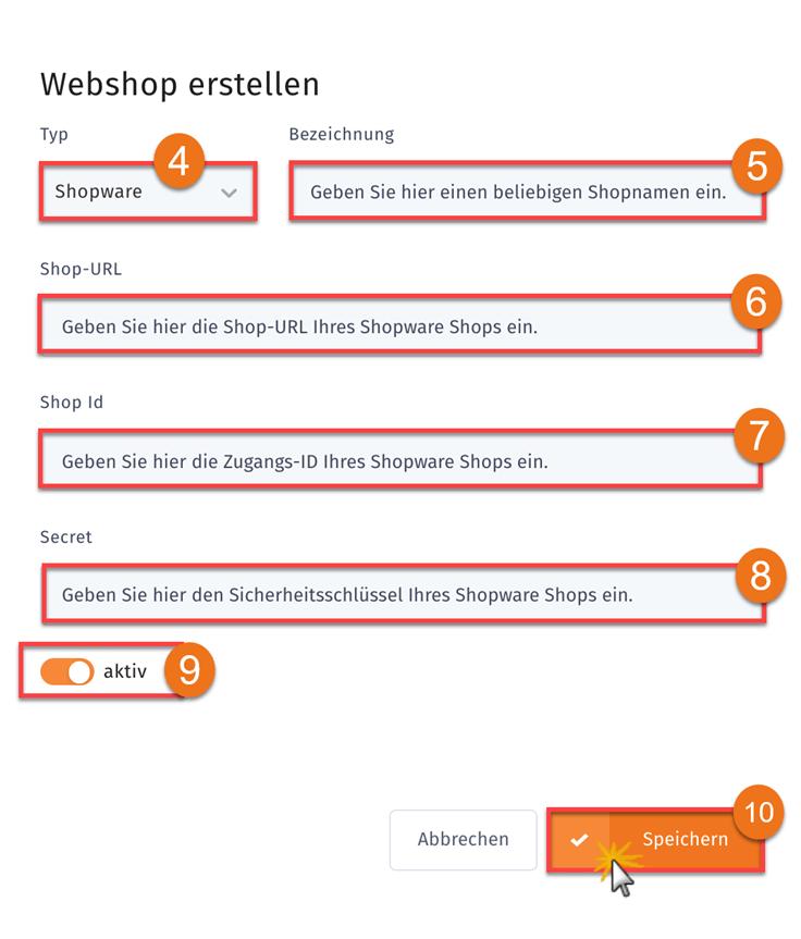 MeinBüro Handbuch für Fortgeschrittene: Shopware Login Schritt 3
