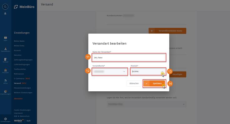 MeinBüro Handbuch für Fortgeschrittene: Versandanbindung Schritt 4