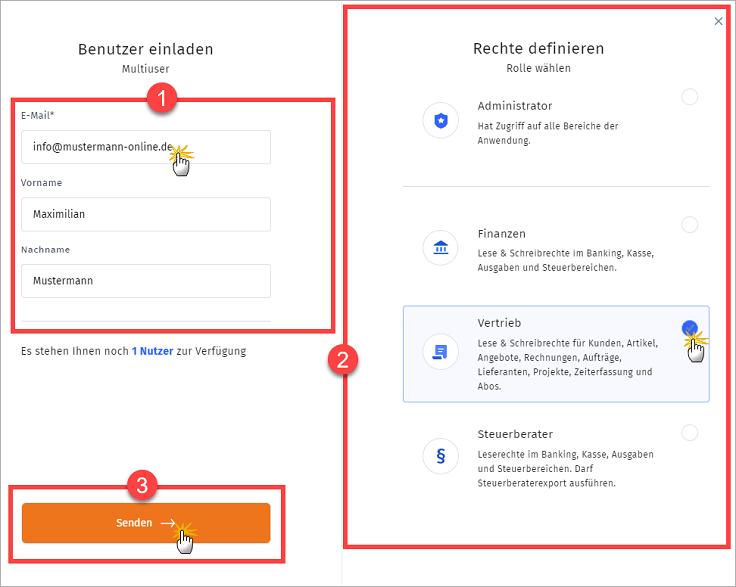 MeinBüro Handbuch für Einsteiger: Benutzer einladen Schritt 2
