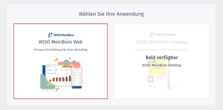 MeinBüro Handbuch für Fortgeschrittene: Anwendung wählen