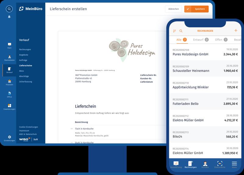 Arbeiten Sie mit MeinBüro per mobile App oder im Browser
