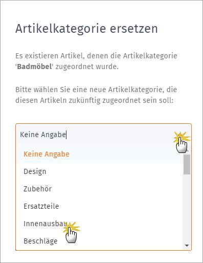 MeinBüro Handbuch für Einsteiger: Artikelkategorien ersetzen