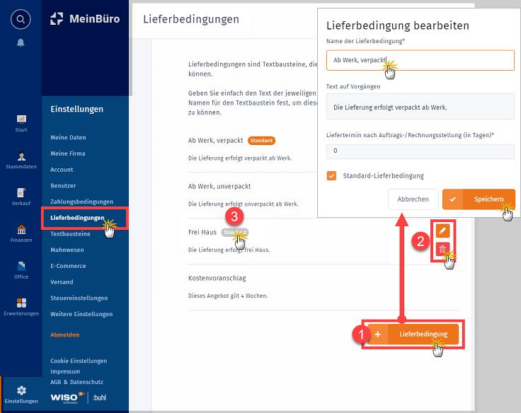 """MeinBüro Handbuch für Einsteiger: Arbeitsbereich """"Lieferbedingungen"""""""