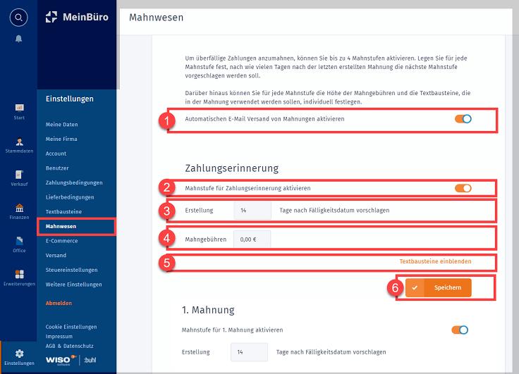 """MeinBüro Handbuch für Einsteiger: Arbeitsbereich """"Mahnwesen"""""""