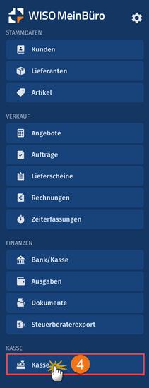 MeinBüro Handbuch für Fortgeschrittene: Menü Kasse