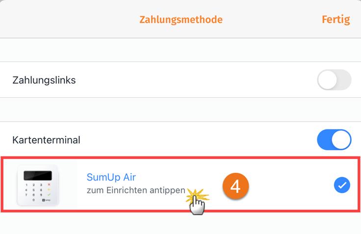 MeinBüro Handbuch für Fortgeschrittene: SumUp Zahlungsmethode hinterlegen