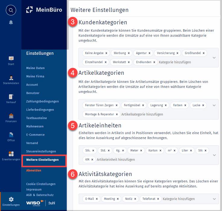 """MeinBüro Handbuch für Einsteiger: Arbeitsbereich """"Weitere Einstellungen"""""""