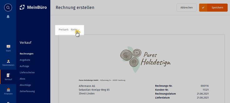 MeinBüro Handbuch für Einsteiger: Voreingestellte Preisart umstellen