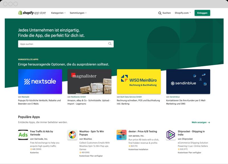 Shopify App Store und MeinBüro