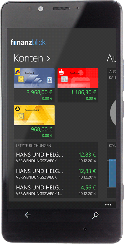 Sicheres Onlinebanking finanzblick Windows Phone