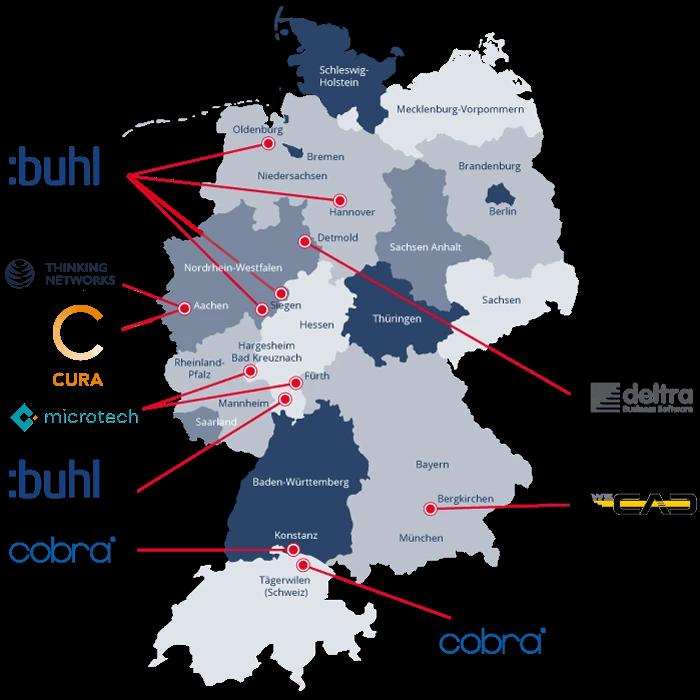 Deutschlandkarte mit Buhl Standorten