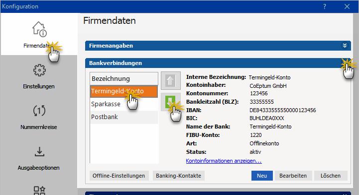 Bankkonto verwalten