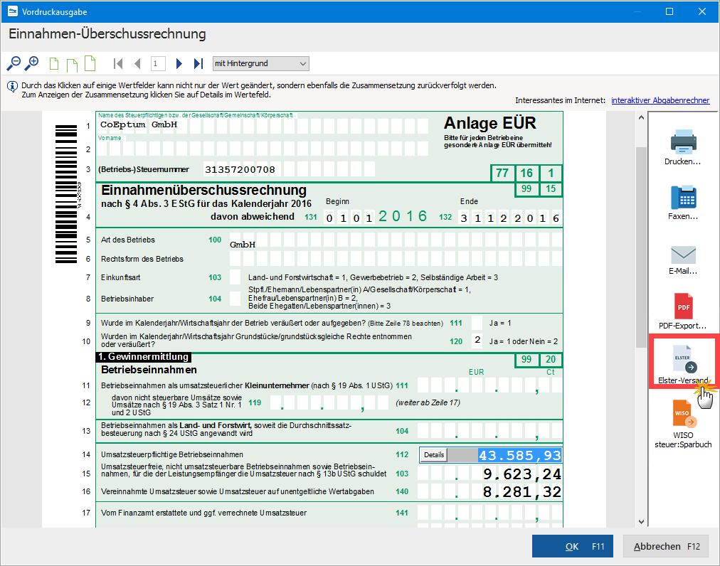 Anlage der Einnahmen-Überschuss-Rechnung