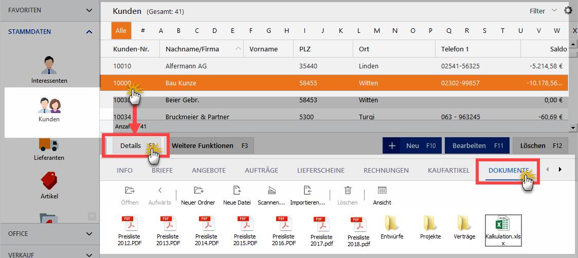 Kunden-Dokumente-Detail-Ansicht