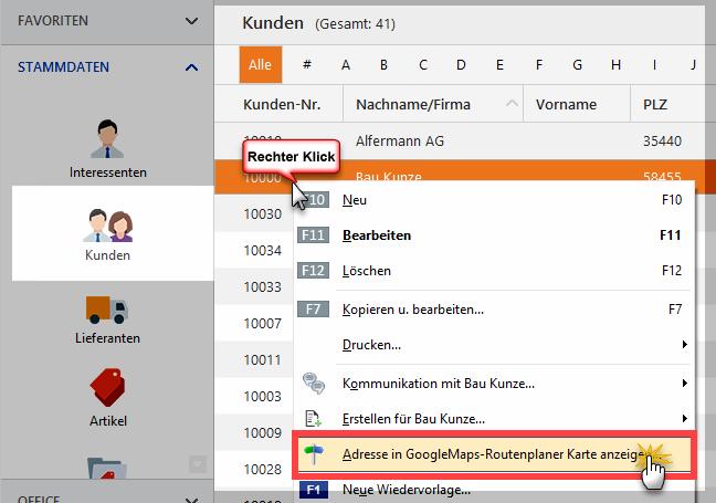Kundenadresse in GoogleMaps anzeigen