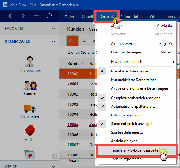 Tabelle in MS-Excel bearbeiten
