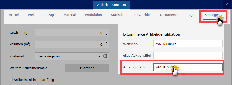 Amazon(SKU) einstellen