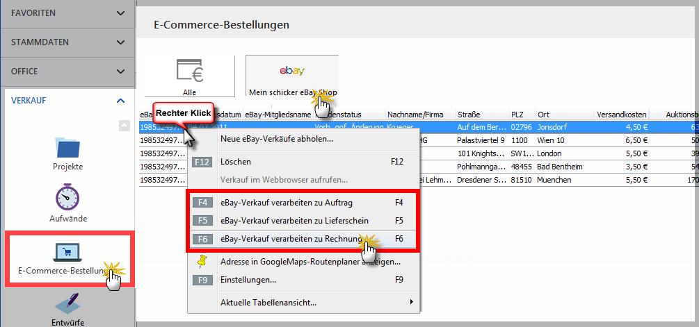 Ebay Verkauf zu Rechnung
