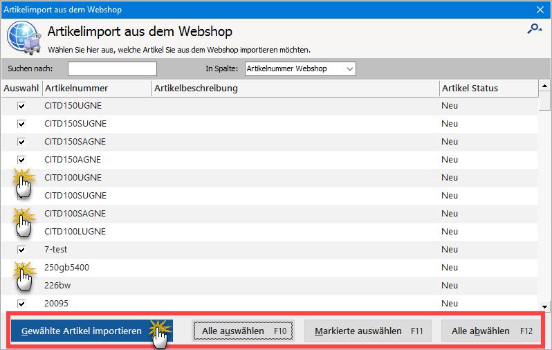 Artikel aus Webshop importieren