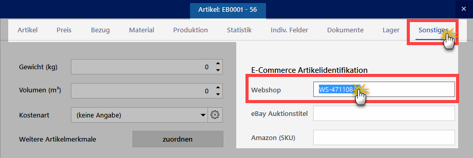 Webshop-Artikelnummer festlegen
