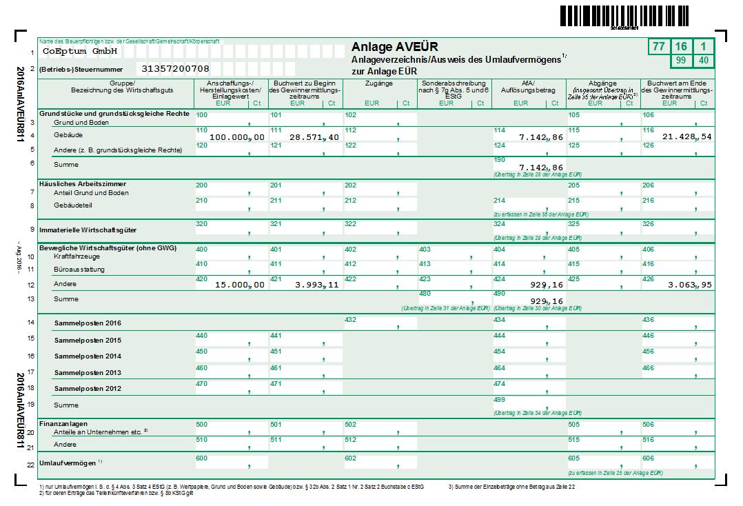 Anlageverzeichnis Steuerauswertungen