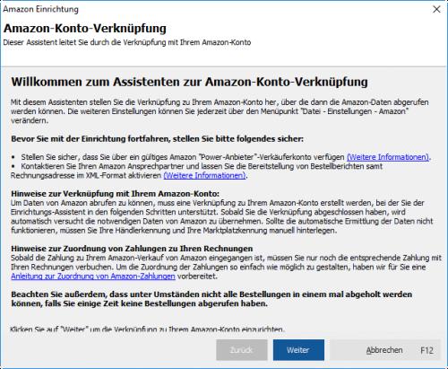AmazonKonto Verknüpfung mit MeinBüro und dem Modul Webselling