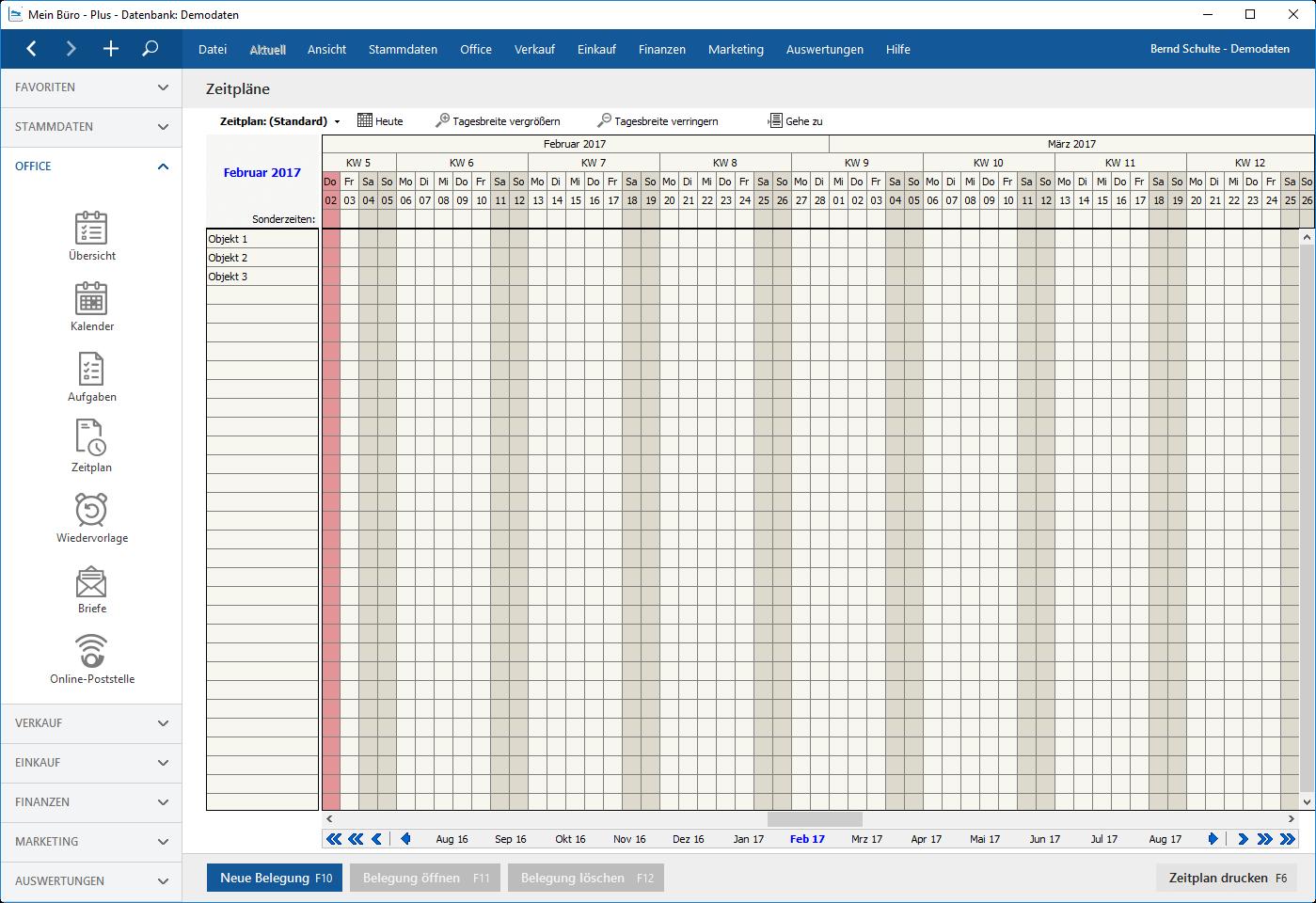 planen Planer Datenbank Demo