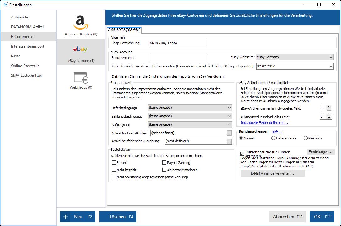 ebay schnittstelle mit WISO Mein Büro und dem Modul Webselling