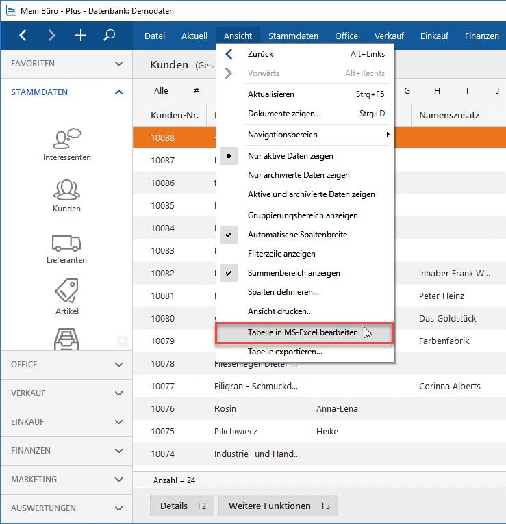 Eigene Auswertungen Kundenansicht in Excel