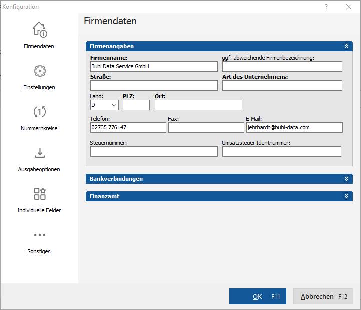 Firmendaten Einrichtungsassistent