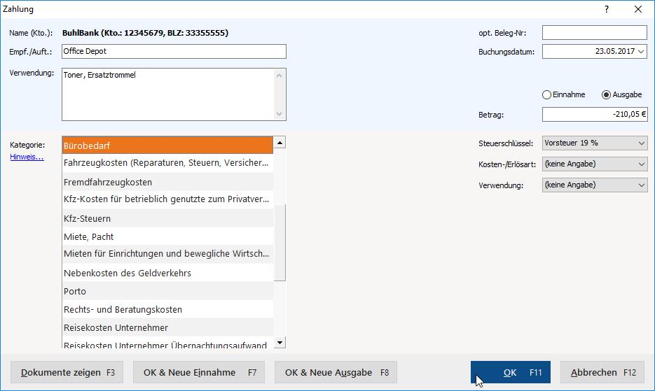 Zahlungseingang verbuchen
