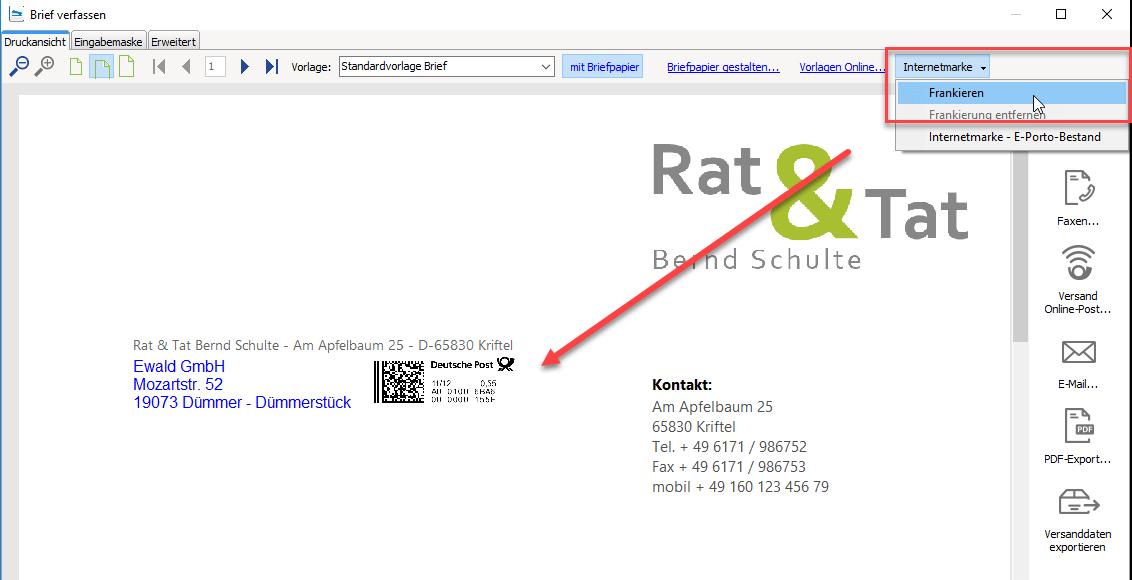 Internetmarke frankieren