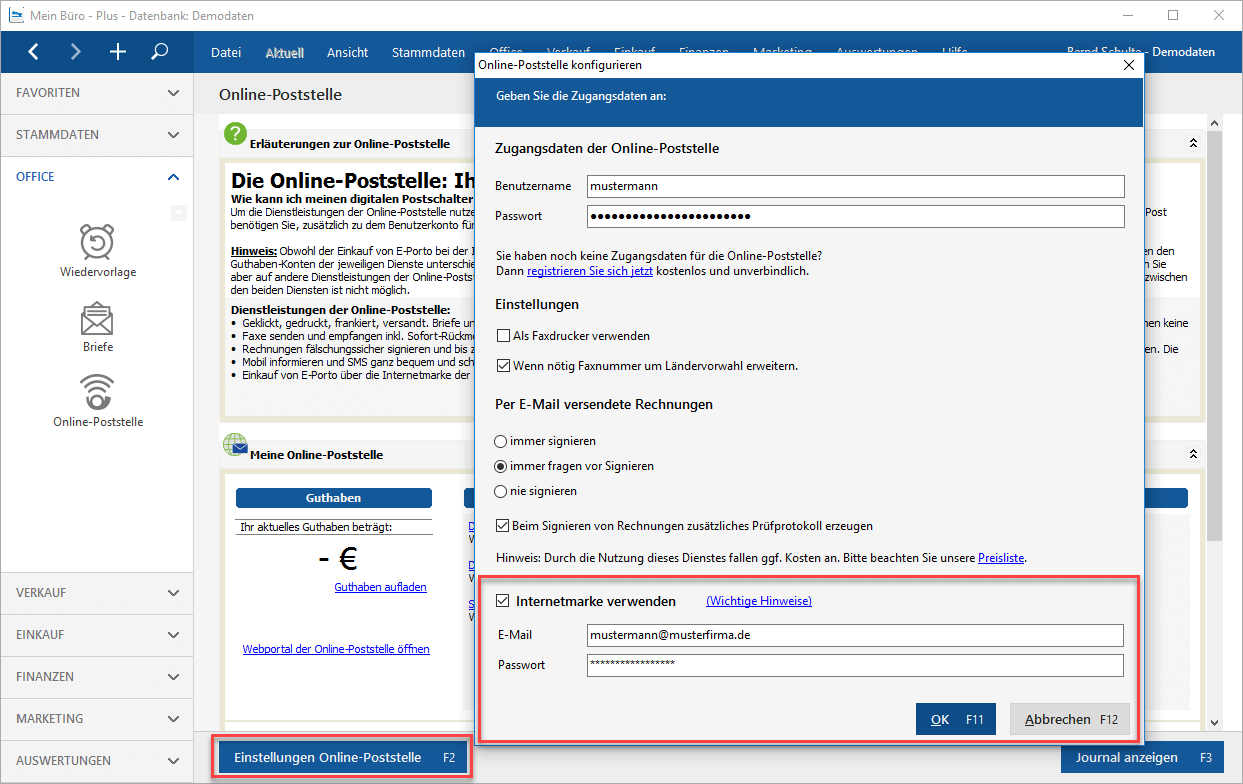 einstellungen onlinepoststelle