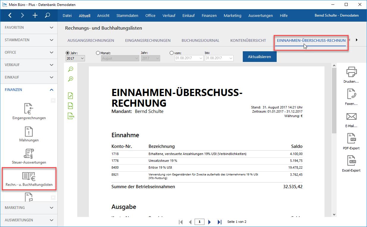 Gewinnermittlung EÜR erstellen mb