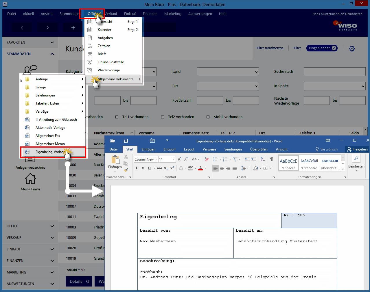 Eigenbelege Datenbank